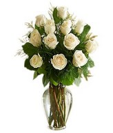 12 stems of white roses in bouquet