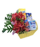 Flower arrangement with Oatmeal, Biscuit & others in a basket