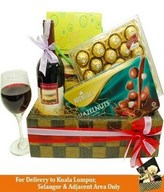 Red Wine, Chocolate & 24pcs Ferrero Rocher in a Basket