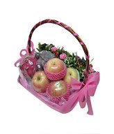 Seasonal fruits basket with flowers