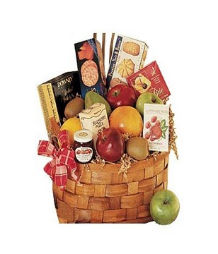 Assorted fruits and Gourmet Indulgence served in a Basket