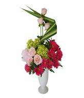 Pink Roses, Hydrangea, Gerberas, and Fillers in Ceramic Vase
