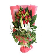 Bouquet of 12 Red Roses & 3 White Lilies