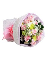 9 Pink Roses with Fillers Bouquet