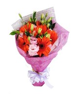 Bouquet of mixed flowers in bold and soft colors