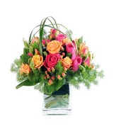 Roses, Berries & Lily Grass in a Vase
