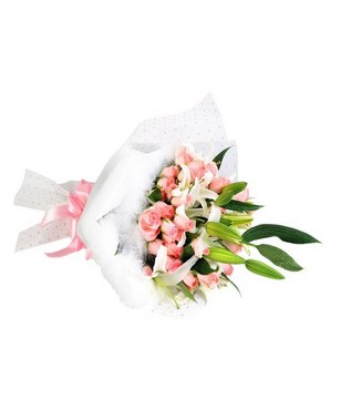 Bouquet of 36 Pink Roses & 9 Lilies