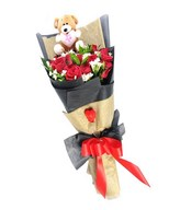 24 Red Roses with small Teddy bear