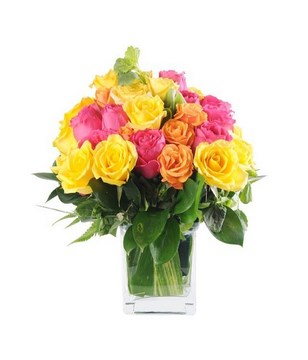 24 mixed Roses in a vase
