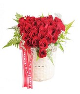 Love Shaped Arrangement of Red Roses & Baby's Breath in a Basket