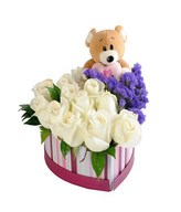 12 White Roses with Teddy Bear in a Box