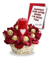 16 Pieces Ferrero Rocher chocolates in a basket with one Pillar Candle