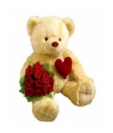 Bouquet of roses with Teddy Bear.