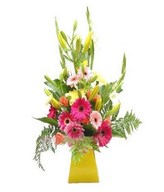 Arrangement of Gerberas, Lily and leaves in vase