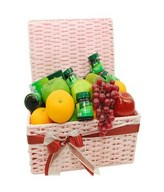 Assorted Fruits with 6 bottles of Chicken Essences Brands in A Basket Arrangement