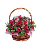 50 Stalks Red Rose In a Basket With Special Arrangement