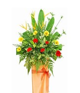 Heliconia, Helicopter Leaf & Mix Color Gerbera