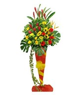 Ginger, Heliconia, Gerbera, Sunflowers & Chrysan Pom-poms