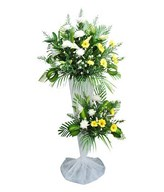 White Casablanca Lilies With White Chrysanthemum & Yellow Gerbera