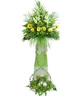 Yellow Gerbera, White Casablanca Lilies, Cream Chrysan Pom-poms and Roses