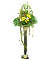 Yellow Chrysanthemum, White Roses & Bird of Paradise