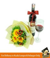 Red Wine, Wine Glass & Bouquet of 3 Yellow Geberas