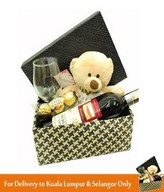Red Wine, Wine Glass with Bear & 3pcs Ferrero Rocher In a Box Arrangement
