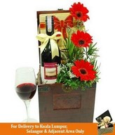 Red Wine, Wine Glass with Flowers in a Treasure Chest