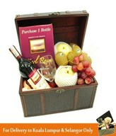 Red Wine, Wine Glass with Assorted Fruits in a Treasure Chest