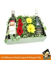 Red Wine, Sparkling Juice & Flowers Arrangement in a Box