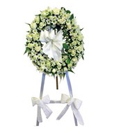 Ring Wreath Stand of White Flowers