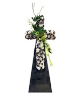 Cross Shaped Arrangement of White Pompom, Orchids, Carnations & Lilies