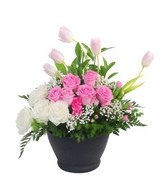 Table Flower of White and pink roses with Soft Pink tulips and Filler in Container