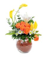 Arrangement of Yellow Calla lily, Orange Rose, White Lily and Filler in round glass vase