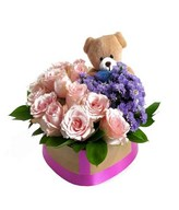 12 pink roses with purple flowers and Small Bear in Heart Shape Box