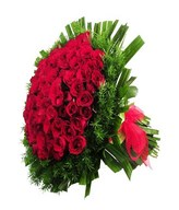 arrangement of 99 red roses.