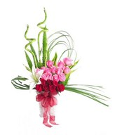 Arrangement of Red and Pink roses with white Lily and Fillers in Basket