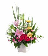 Arrangement of pink lily and carnation, red rose and yellow gerbera with filler in vase