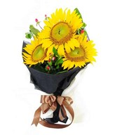 3 stem of sun flower hand bouquet