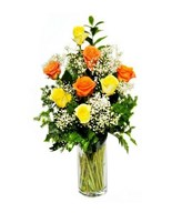 12 Orange & Yellow Roses in a Vase