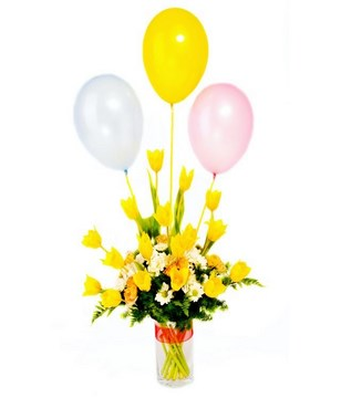Assortment Of Yellow Rose & White Daisies With Balloons in a vase