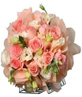 Sweet pink roses and white eustoma hand bouquet