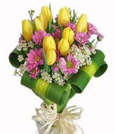 10 Yellow Tulip with Dracaena Foliage hand bouquet.