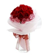 15 red roses with pink carnation handbouquet