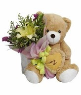 Medium Teddy Bear with Bouquet of 1 Stalk Lilies with Fillers