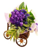 12 Purple Roses (Dyed) Hand Bouquet With Fillers