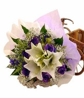 3 lily 6 purple Roses hand bouquet