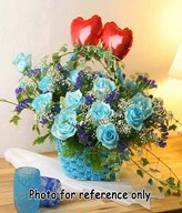 20 Stalks Blue Roses With Baby's Breath And Ivy Leaves Decorated In A Basket With 2 Heart Shape