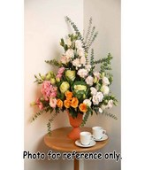 Brassica Flowers With  Pink and white Carnation ,Orange Roses and fillers In Vase