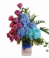 Hydrangeas, Purple Roses and Blue Rose in glass vase